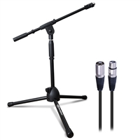 AxcessAbles MS-101L Adjustable Low Profile Tripod Boom Microphone Stand Live Studio Stage w/ XLR Cable