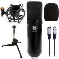 AxcessAbles MX-100 Professional Cardioid Studio Condenser XLR Mic with Desktop Tripod Stand, Shock Mount and Pop Filter, Studio Recording & Broadcasting