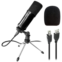 AxcessAbles MX-715 USB Studio Condenser Recording Microphone for PC Laptop MAC or Windows, Cardioid Studio for Recording Vocals, Voice-Overs, Streaming Broadcasts and YouTube Videos