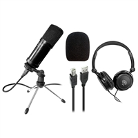 AxcessAbles MX-715 USB Studio Condenser Recording Microphone with SH-49 Stereo Headphones Bundle