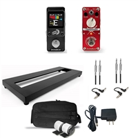 AxcessAbles Guitar Pedal Board S Single Space Aluminum Alloy Guitar Pedal Board w/ Carrying Bag, Digital Tuner, Guitar Pedals, Audio Cables and Power Supply