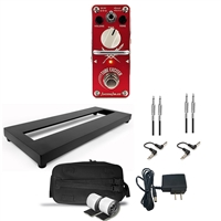 AxcessAbles Guitar Pedal Board S Single Space Guitar Pedal Board w/Carrying Bag, TUBE EXCITER Overdrive Guitar Pedal, Audio Cables and Power Supply