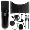 AxcessAbles MX-100 Studio Condenser Microphone with Desktop Isolation Shield Set