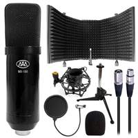 AxcessAbles MX-100 Professional Cardioid Studio Condenser XLR Mic with Microphone Isolation Shield, Desktop Tripod Stand, Shock Mount and Pop Filter, Studio Recording & Broadcasting