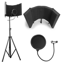 AxcessAbles SF-101KIT Recording Studio Microphone Isolation Shield with Tripod Stand