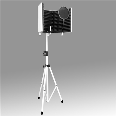 AxcessAbles SF-101KITW Recording Studio Microphone Isolation Shield With Stand (White)