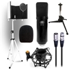 AxcessAbles SF-101KIT-W Full Bundle - MX-100 Professional Cardioid Studio Condenser Mic/Tripod Stand/Desktop Tripod Stand/Microphone Isolation Shield/Shock Mount/Pop Filter/XLR Cable - Ideal for Studio Recording & Broadcasting (White)