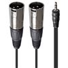 AxcessAbles TRS18-DXLR402M Audio Cable, 3.5 mm Stereo TRS to Dual XLR Male Cable (6.5ft)