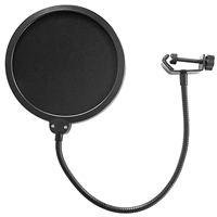 "AxcessAbles 6"" Dual Layer Nylon Studio Microphone Pop Filter/ Blocker with Adjustable Gooseneck and Clamp"