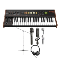 Behringer Vocoder VC340 - Analog Synthesizer w/ AxcessAbles Stereo Headphones, Dynamic Microphone, Audio Cables and Microphone Stand