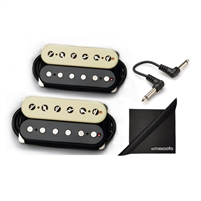 Bare Knuckle Pickups Boot Camp Brute Force Humbucker Set Standard Spacing Zebra with eStudioStar Cloth and Patch Cables
