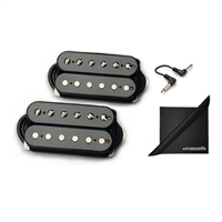 Bare Knuckle Pickups Boot Camp True Grit Humbucker Set Open Black with eStudioStar Cloth and Patch Cables