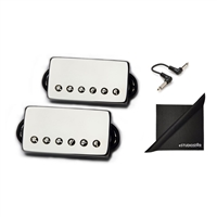 Bare Knuckle Pickups Boot Camp True Grit Humbucker Set Nickel with eStudioStar Cloth and Patch Cables