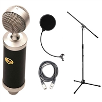 Blue Baby Bottle Condenser Studio Microphone with Pop Filter, Shockmount, Mic Stand, and Cable