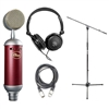 Blue Spark SL Large-Diaphragm Studio Condenser Microphone with Samson SR350 Over-Ear Stereo Headphones, AxcessAbles XLR-XLR20 Audio Cable and AxcessAble MS-101 Microphone Stand