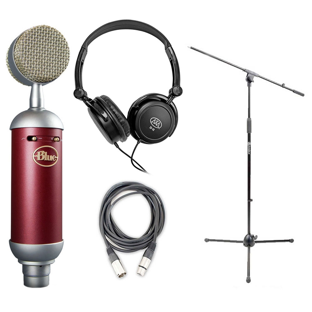 blue spark microphone bundle with mic boom stand xlr cable and studio headphones bluspark. Black Bedroom Furniture Sets. Home Design Ideas