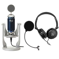 Blue Microphones Spark Digital Studio-Grade Condenser Microphone + Full-Size Headphones + Audio Microphone Pop Filter