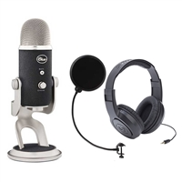 Blue Microphones Yeti Pro Multipattern Condenser Mic w/Headphones and Pop Mic Filter