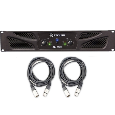 Crown Audio XLi 1500 Stereo Power Amplifier w/ AxcessAbles Audio Cables and eStudioStar Polishing Cloth
