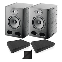 Focal Alpha 65 Pair Active 2-Way 8'' Near Field Professional Monitoring Speakers with AxcessAbles SMP02P Speaker Isolation Foam Pads
