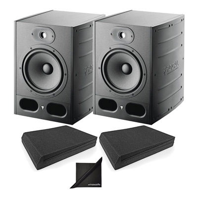 "Focal Alpha 80 Active 2-Way 8"" Near Field Prof. Monitor Speakers (x2) with AxcessAbles SMP02P Speaker Isolation Foam Pads"