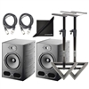 "Focal Alpha 80 Active 2-Way 8"" Near Field Professional Monitoring Speaker with AxcessAbles SMS-101 Heavy Duty Studio Monitor Speaker Stands, 2 AxcessAbles XLR-XLR20 Audio Cables and Polishing Cloth"