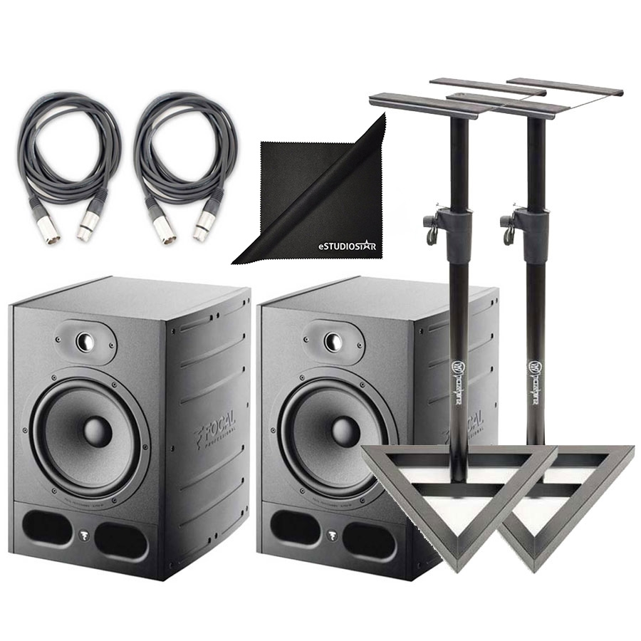 Focal Alpha 80 Active 2Way 8' Near Field Monitor Speakers(2)  w/Stands+Cables NEW