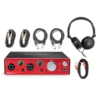 Focusrite Clarett 2Pre Thunderbolt Recording Studio Interface with  Headphones and 5 AxcessAbles Audio Cables