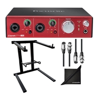 Focusrite Clarett 2Pre Audio Interface with AxcessAbles Laptop Stand, XLR Audio Cable and Polishing Cloth Bundle