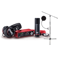 Focusrite Scarlett 2i2 USB Audio Recording Interface Studio Pack 2nd Gen W/ Microphone, Headphones, Protools Software andb Pop Filter, Mic Stand