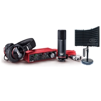 Focusrite Scarlett 2i2 USB Audio Recording Interface Studio Pack 3rd Generation and AxcessAbles Desktop Isolation Shield - Podcast/Vocal