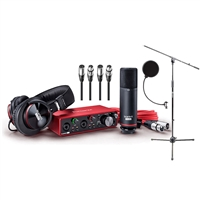 Focusrite Scarlett 2i2 USB Audio Recording Interface Studio Pack 2nd Generation with Microphone Stand with Boom, Pop Filter and 2 XLR Audio Cables