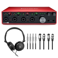 Focusrite Scarlett 18i8 Audio Recording PodCast Interface with Headphones and Cables, FOCSCARLETT18i8-BUNDLE-3, SCARLETT18i8
