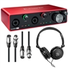 Focusrite Scarlett 4i4 4x4 USB Audio Interface 3rd Generation w/ AxcessAbles Headphones and XLR Cables