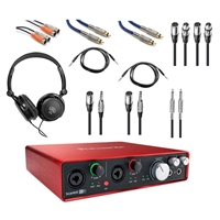 Focusrite Scarlett 6i6 (2nd Gen) USB Audio Recording Interface with Cables and Headphone Bundle