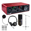 Focusrite Scarlett Solo Audio Interface 3rd Gen w/ Samson Headphones, MXL Condenser Microphone, AxcessAbles Audio Cable, Microphone Stand and eStudioStar Pop Filter