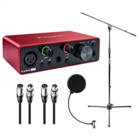Focusrite Scarlett Solo Audio Interface 3rd Gen w/ AxcessAbles XLR-XLR20 Audio Cables, Microphone Pop Filter and Microphone Stand