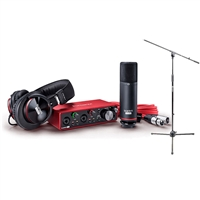 Focusrite Scarlett Studio 2i2 USB Recording Interface (3rd Generation) Studio Pack with AxcessAbles Mic Stand Bundle