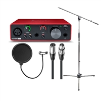 Focusrite Scarlett Solo 3rd Gen 2-in, 2-out USB Audio Interface with Tripod Mic Stand + Boom, Kellopy Pop Filter & XLR Cable Bundle