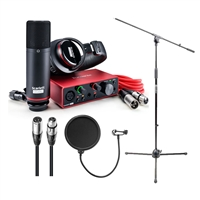 Focusrite Scarlett Solo Studio 3rd Gen 2-in, 2-out Audio Interface with Microphone & Headphones, Tripod Mic Stand + Boom, Kellopy Pop Filter & XLR Cable Bundle