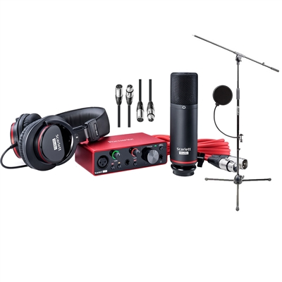 Focusrite Scarlett Solo Studio Package 3rd Generation w/ Pop Filter, AxcessAbles Microphone Stand and 2 XLR Cables