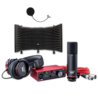Focusrite Scarlett Solo Compact USB Audio Interface Studio Package - 2nd Generation with Microphone Isolation Shield