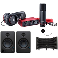 Focusrite Scarlett Solo Studio Package 3rd Generation w/ AxcessAbles Microphone Isolation Shield and PreSonus Speaker