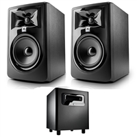 "JBL 305P MkII 5"" Studio Monitoring Speakers (Pair) w/ JBL LSR310S Subwoofer, and eStudioStar Polishing Cloth"