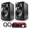 "JBL 305P MkII 5"" Studio Monitoring Speakers Recording Package w/ Focusrite Scarlett 2i2 USB Audio Interface, Protool First DAW and AxcessAbles Cables"
