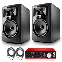 "JBL 305P MkII 5"" Studio Monitoring Speakers Recording Package w/ Focusrite Scarlett 2i2 USB Audio Interface, Protool First DAW, AxcessAbles Cables"