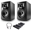 "JBL 305P MkII 5"" Studio Monitoring Speakers (Pair) w/ AxcessAbles Audio Cable and Isolation Pads"