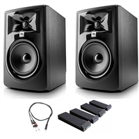 "JBL 305P MkII 5"" Studio Monitoring Speakers (Pair) w/ AxcessAbles Audio Cable, Isolation Pads and eStudioStar Polishing Cloth"