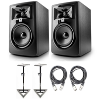"JBL 305P MkII 5"" Studio Monitoring Speakers (Pair) w/ AxcessAbles Studio Monitor Stands and Studio Cables"