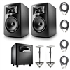 "JBL 305P MkII 5"" Studio Monitoring Speakers (Pair) w/ JBL LSR310S Subwoofer, AxcessAbles Studio Monitor Stands and Axcessables Audio Cables"